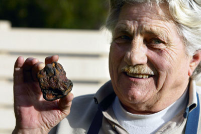 Denis Lakic from Terang with the piece of rock he believes could turn out to be part of a meteorite.